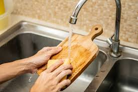 cleaning the cutting board